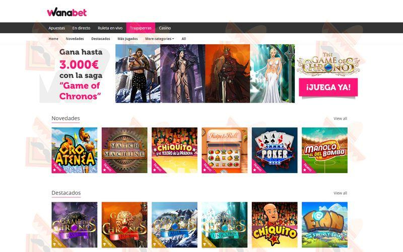 Wanabet Casino Captura de Pantalla