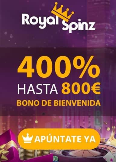 Juega con el 400% hasta 800 euro en RoyalSpinz Casino