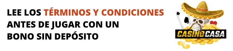 LEE LOS TÉRMINOS Y CONDICIONES ANTES DE JUGAR CON UN SIN DEPÓSITO