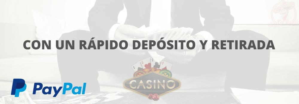 depósitos y retiros rápidos con foto de paypal con los casinos